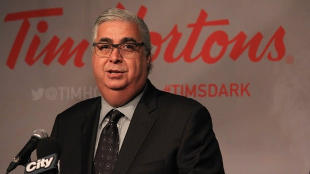 Tim Hortons president and CEO Marc Caira, announces the chain's new dark roast blend, on Aug. 14, 2014.