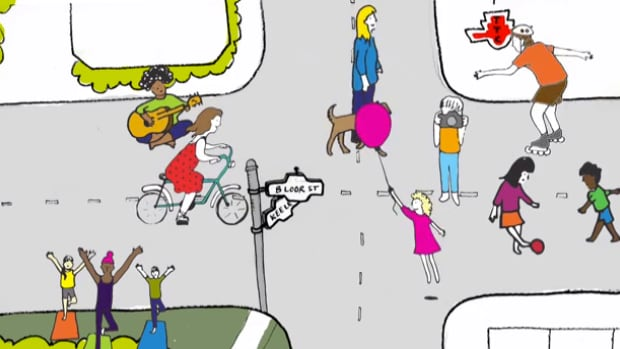 An artists' rendition of Open Streets TO.