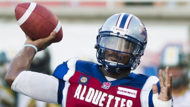 Montreal Alouettes' quarterback Troy Smith Smith was 20-of-45 passing for 231 yards last weekend against Edmonton and has completed just 47.7 per cent of his passes this year.