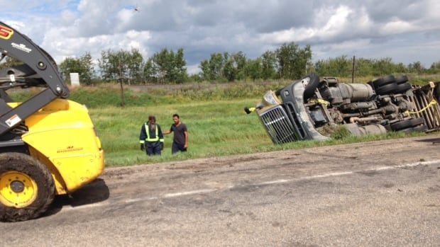 Westbound traffic on the Trans-Canada Highway east of Regina, Sask. is down to one lane near Indian Head.