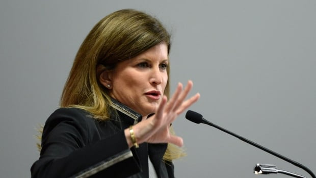 Health Minister Rona Ambrose blamed Liberal Leader Justin Trudeau for politicizing the subject of marijuana, following a speech to the Canadian Medical Association in Ottawa on Aug. 18, 2014.