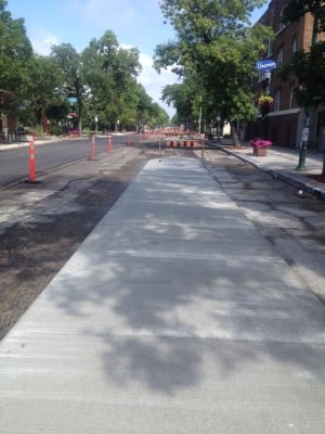 Parking-protected bike lane for cyclists in Winnipeg