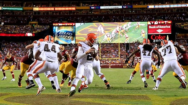Browns rookie quarterback Johnny Manziel (2) looks to pass in Monday's 24-23 pre-season loss to the Redskins at FedEx Field.