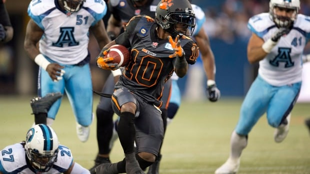 B.C. Lions running back Stefan Logan (10) racked up a career-high 145 yards and scored a touchdown in the team's 33-17 victory over the Toronto Argonauts.
