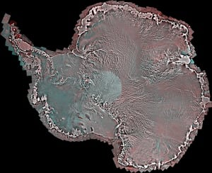 Mosaic of satellite images of Antarctica taken by RADARSAT-2
