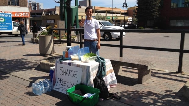 "While this was Michael Wiwczor's first week with his ""Share Freely"" booth, he said he hopes to return to the spot once a week when he has free time."