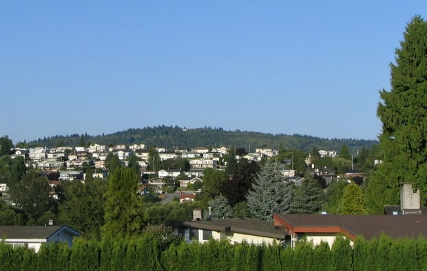 Parkcrest, Burnaby, British Columbia, with Burnaby Mountain in the distance