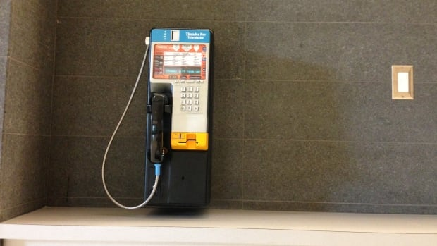 The new pay phone at the Thunder Bay court house.