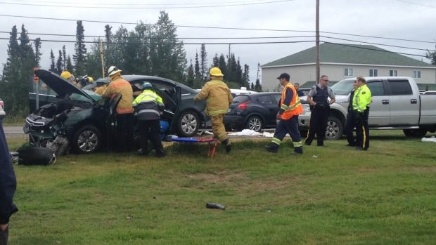 Emergency crews used the Jaws of Life to free a female driver following a vehicle collision in Happy Valley-Goose Bay.