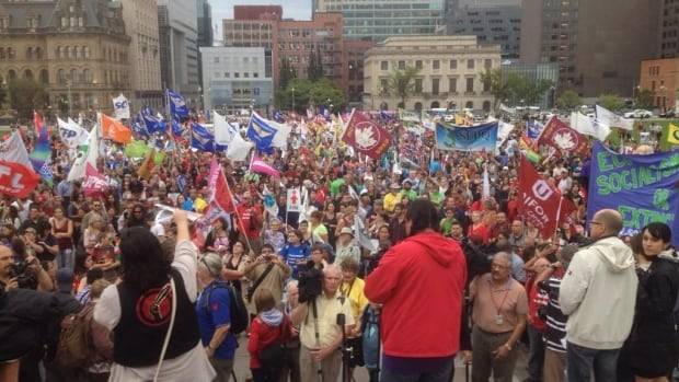 """An estimated 2,000 people marched from locations across Ottawa and Gatineau Thursday, a """"Unity March"""" to mark the beginning of the People's Social Forum."""