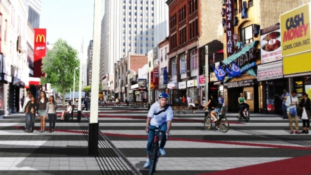 The design to make Yonge more pedestrian-friendly.