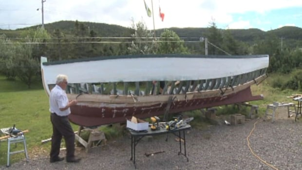 Andy Riggs of Burin is building a fishing boat from raw wood he gathered. Riggs has no previous experience in wooden boat building.