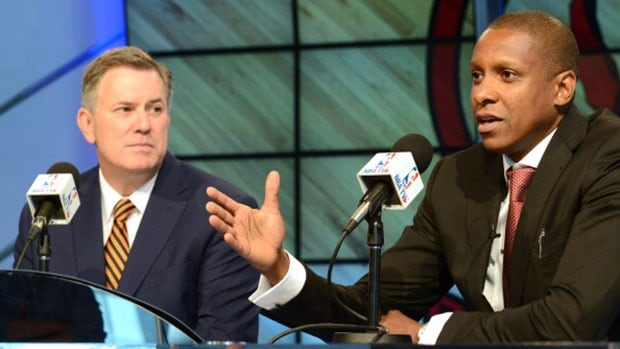 "Toronto Raptors general manager Masai Ujiri, right, and outgoing MLSE president & CEO Tim Leiweke envision the team's new training facility to be both the talk of the NBA and a ""Field of Dreams"" home to young Canadian players."