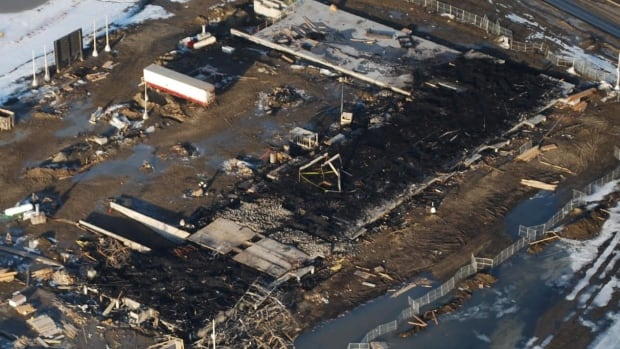 Edmonton Police released this aerial image of the condo after the March 15 fire.