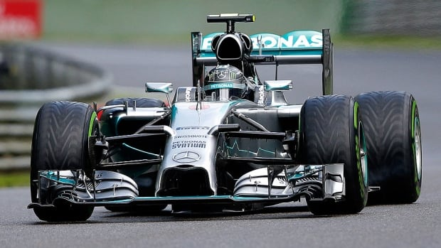 Nico Rosberg of Germany and Mercedes GP drives during final practice ahead of Sunday's Belgian Grand Prix in Spa, Belgium. He clinch a fourth straight pole position and sixth in the past seven races with a time of two minutes 5.591 seconds.