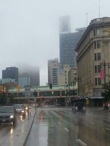 Winnipeg rain fog