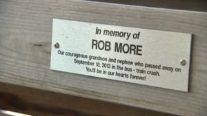 Rob More bench plaque