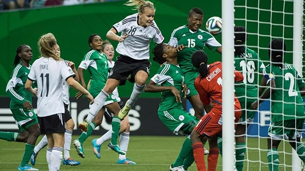 Lena Petermann (18) of Germany tries to score on a header in Sunday's 1-0 win over Nigeria at Montreal's Olympic Stadium.