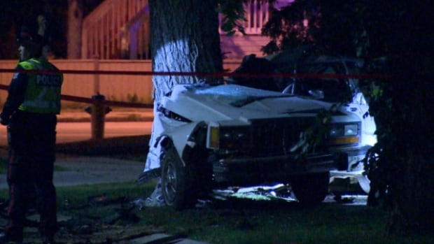 Two men were killed in west Edmonton Sunday night when their car left the road and smashed into a tree. Police believe speed and alcohol were factors.