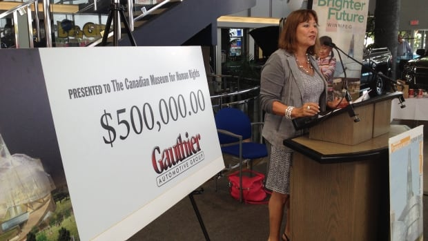 Gail Asper, national campaign chair of the Friends of the Canadian Museum for Human Rights, speaks at the presentation of a $500,000 donation from the Jim Gauthier Automotive Group on Monday.
