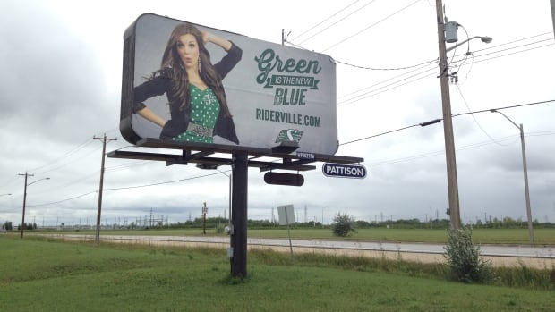 The Saskatchewan Roughriders threw some shade at the Winnipeg Blue Bombers with new billboards ahead of the Labour Day Classic on Sunday. This one went up on Plessis Road, south of Dugald Road.