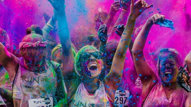 """Typically on the run, participants get covered in what the Run or Dye website calls """"eco-friendly, plant-based powdered dye"""" in an explosion of colour."""