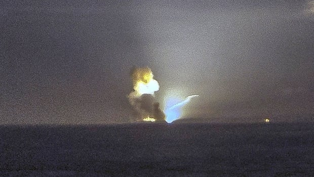 The horizon is seen from Cape Greville in Chiniak, Alaska, after a rocket carrying an experimental Army strike weapon exploded following take-off from a launch pad in Alaska Monday.