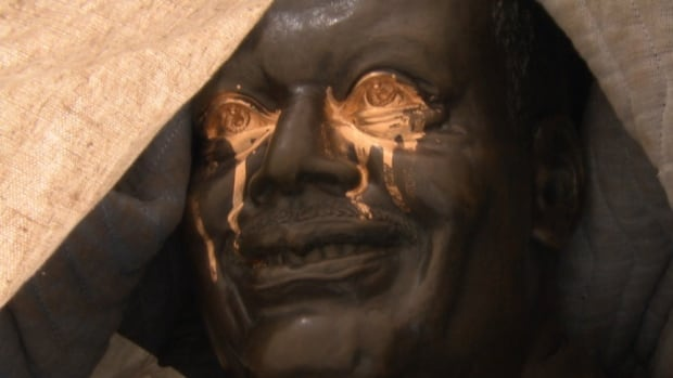 The Oscar Peterson statue outside the National Arts Centre in Ottawa was spraypainted overnight. The NAC says the statue should be cleaned up by Wednesday.