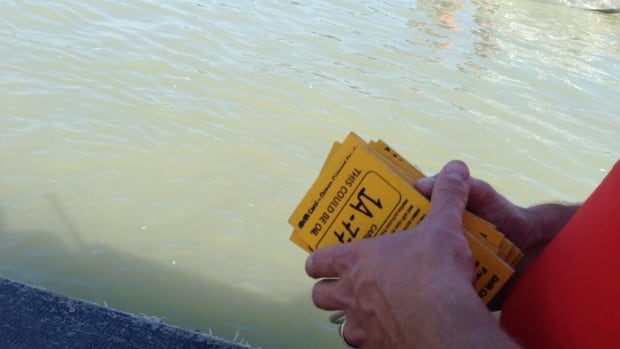 Yellow plywood cards are being dropped in the Fraser River and tracked as part of an oil spill simulation research project.