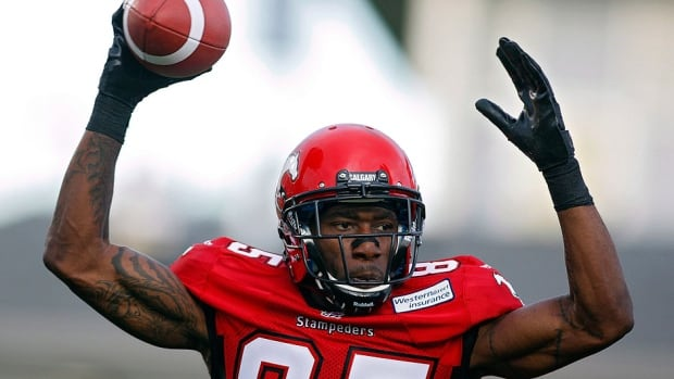 Stampeders receiver Joe West was named the CFL's top offensive player of the week on Tuesday. The 30-year-old West had four catches for 129 yards in Calgary's 32-7