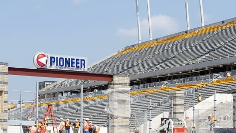 Workers at Tim Hortons Field