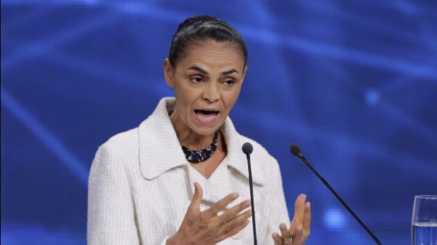 Marina Silva, presidential candidate of the Brazilian Socialist Party, speaks during a televised presidential debate in Sao Paulo on Tuesday.