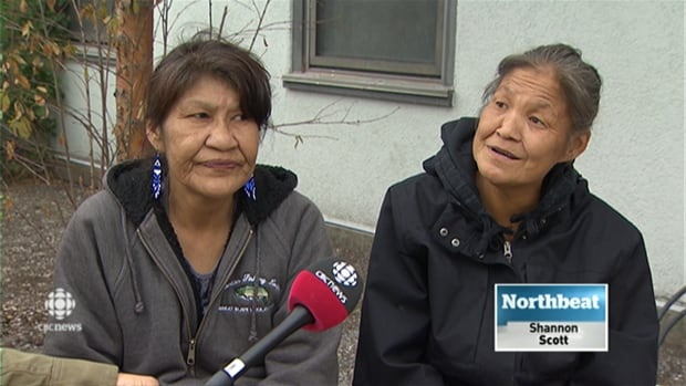 Alice Joyce Betsidia, right, is homeless in Yellowknife. 'Why did they have to shut down that day shelter when we need a safe place to be too?' she asks.