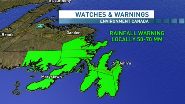 Cristobal is expected to dump more than 50 mm of rain in parts of eastern Newfoundland.