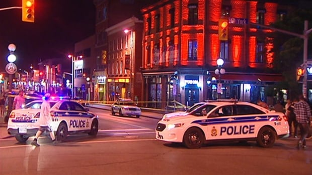 Ottawa police and paramedics responded to the intersection of York and Dalhousie streets in the ByWard Market during the night of Aug. 28, 2014. One man was found with stab wounds.
