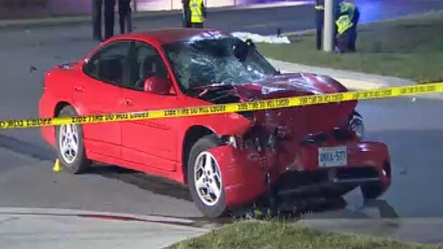 A man and a woman are dead after the motorcycle they were riding collided with this car Thursday night in Mississauga.