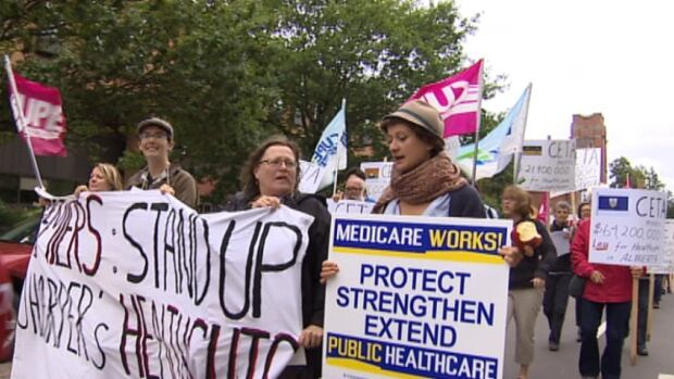 While the premiers met in Charlottetown, about 100 people marched in support of medicare and to protest the Canada-European trade union.