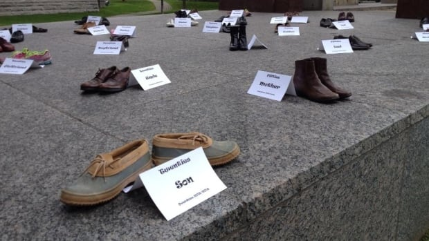 Thirty-two pairs of shoes representing 32 people who died of drug overdoses in Ottawa over the last year rest on the Human Rights Monument Friday, Aug. 29, 2014.