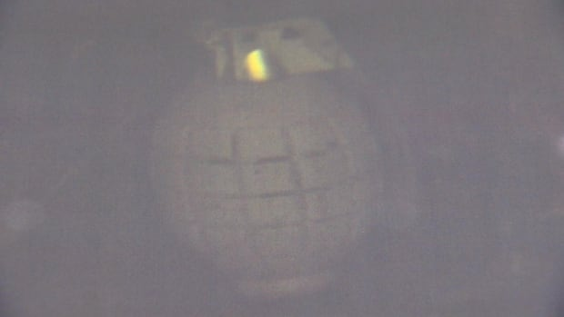 A toy grenade had to be recovered by specialized military divers from the waters off St. Philip's on Wednesday.