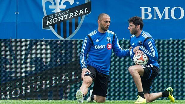 Marco Di Vaio, left, Ignacio Piatti, right, and the Montreal Impact play host to the Columbus Crew at Saputo Stadium on Saturday.