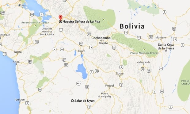 Boliva bus crash map