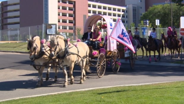Wild Pink Yonder, a group of horseback riders raising money for breast cancer research, rode through Edmonton on Saturday.