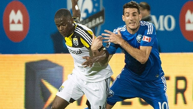 Montreal Impact's Ignacio Piatti, right, scored two goals in victory over the Columbus Crew Saturday.