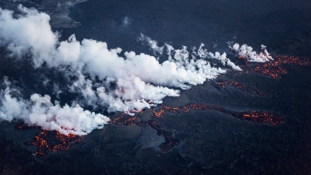 Magma flows along a 1-km-long fissure in a lava field north of the Vatnajokull glacier, which covers part of the Bardarbunga volcano system. Authorities in Iceland initially raised the aviation alert to red because of fears that the fresh eruption could release ash and disrupt flight paths, but later lowered it back down to orange.