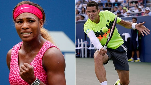 Serena Williams, left, inquired about the protective right arm sleeve of Milos Raonic, asking the Canadian on Twitter if it would improve her serve.