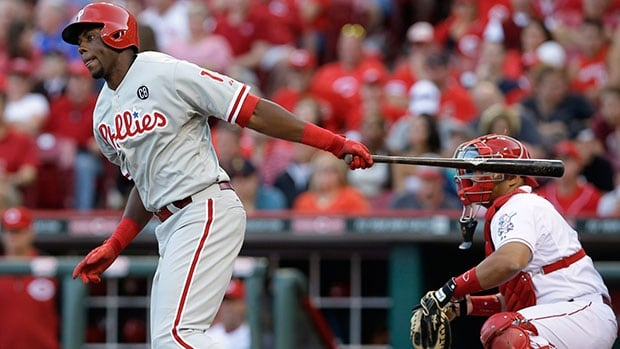 The Toronto Blue Jays acquired outfielder John Mayberry Jr. from the Philadelphia Phillies Sunday in exchange for minor-league infielder Gustavo Pierre.
