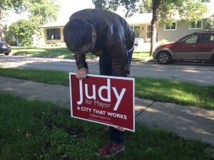 Judy for mayor campaign sign in Winnipeg