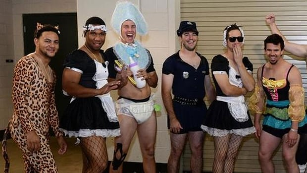 Diamondbacks rookies were strongly encouraged to wear costumes after a series win over Colorado on the weekend prior to boarding a plane for San Diego. It was part of the team's annual dress up day.