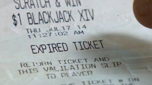 Steve Hildebran's expired ticket receipt