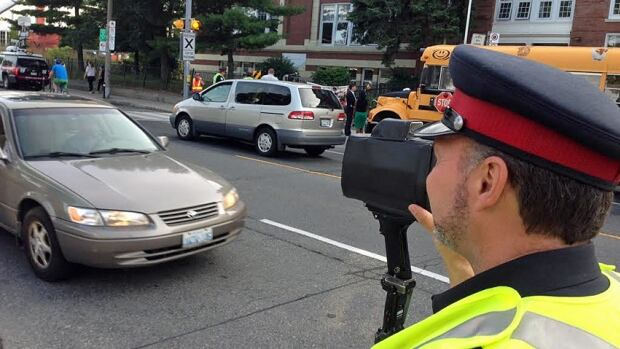 Toronto police officers were out in force Tuesday, watching for drivers whose actions put children in danger.